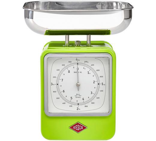 Retro Küchenwaage mit Uhr - Edelstahlfarben/Grün, Basics, Metall (13/15/27cm) - Wesco