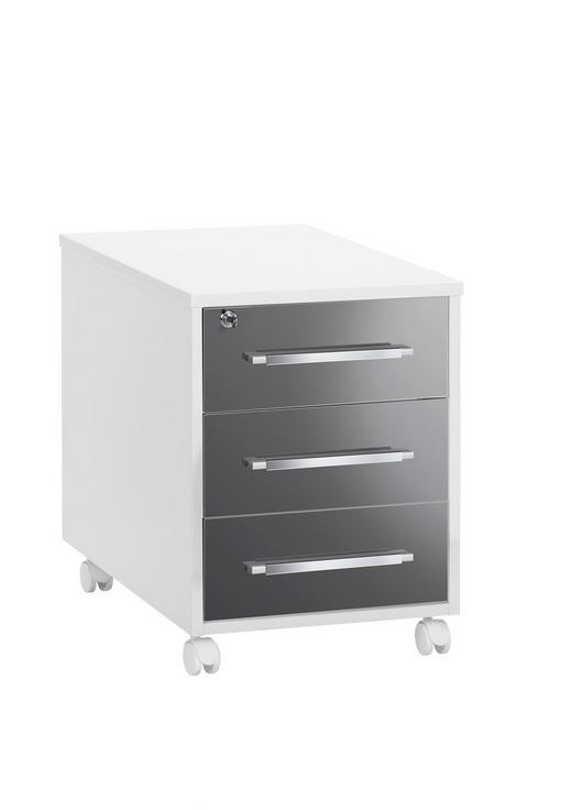 ROLLCONTAINER Grau, Weiß - Silberfarben/Weiß, Design, Kunststoff/Metall (43/59/65cm)
