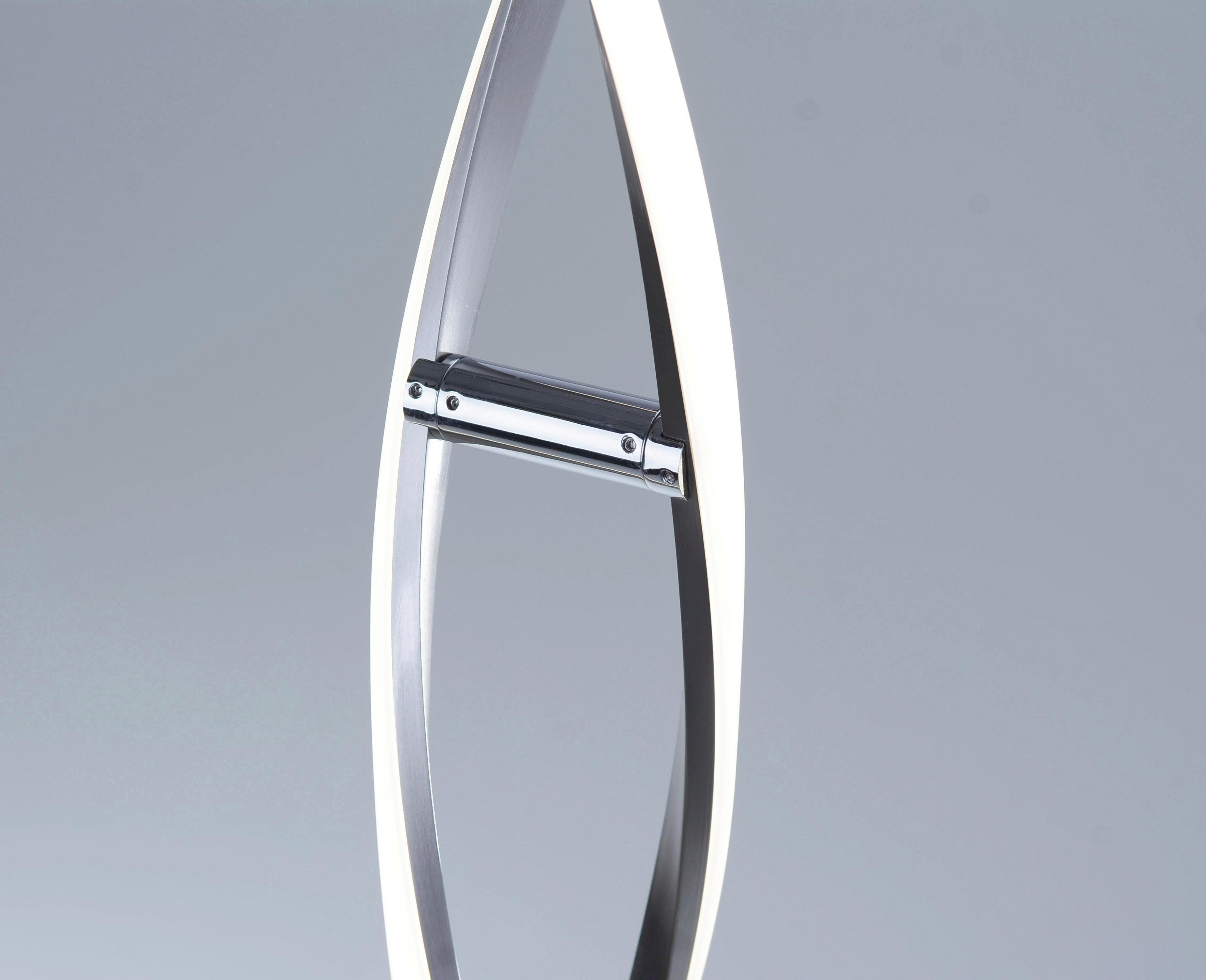 LED-GOLVLAMPA - nickelfärgad, Klassisk, metall (136cm)