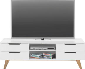 MEDIABÄNK - vit/naturfärgad, Design, trä/träbaserade material (150/47,5/45cm) - Mömax modern living