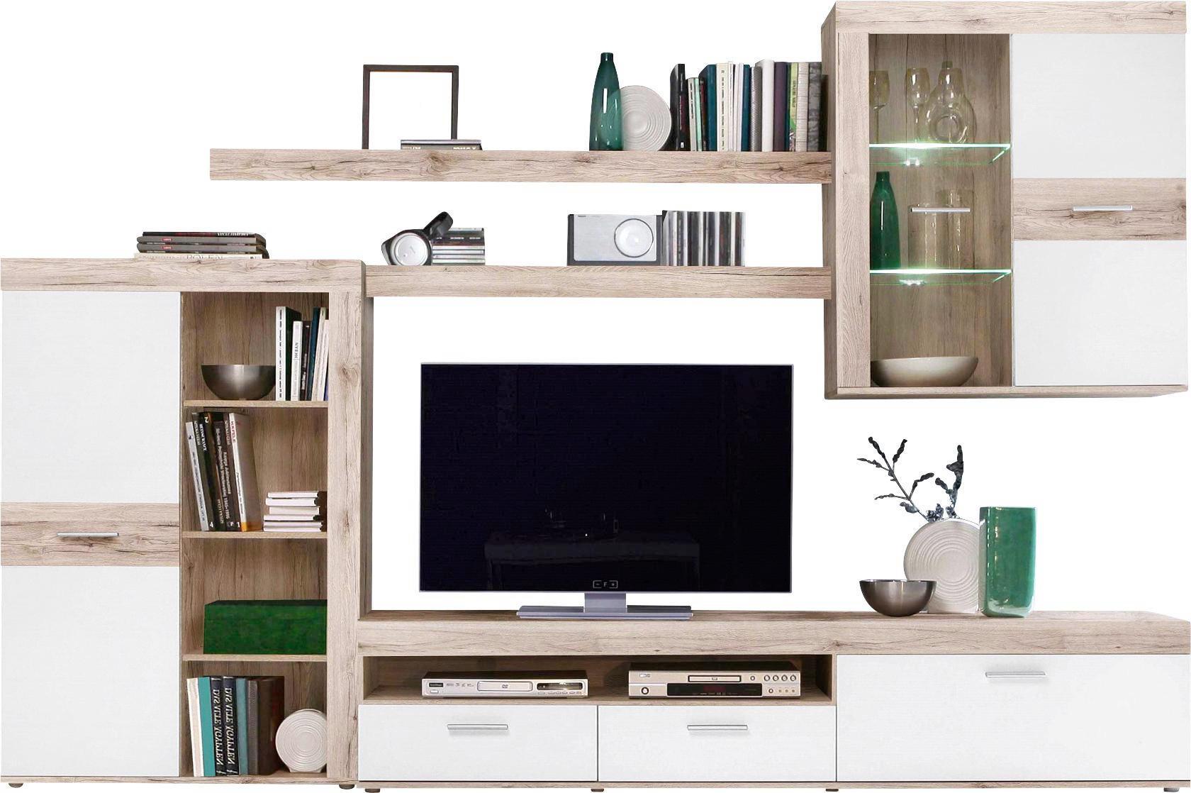 WOHNWAND Eichefarben, Weiß   Eichefarben/Alufarben, Design,  Glas/Holzwerkstoff (300 Home Design Ideas