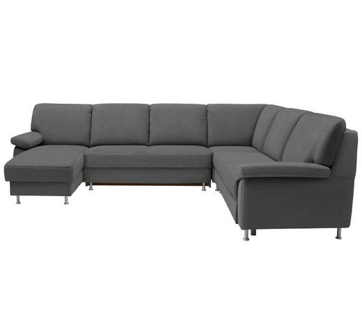 WOHNLANDSCHAFT in Textil Grau - Grau, KONVENTIONELL, Textil/Metall (155/313/250cm) - Ada Austria