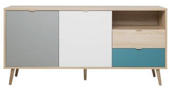 KOMODA - bijela/siva, Konvencionalno, drvni materijal (150/68/40cm) - Carryhome
