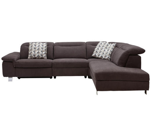 WOHNLANDSCHAFT Braun  - Chromfarben/Braun, Design, Textil/Metall (305/231cm) - Dieter Knoll