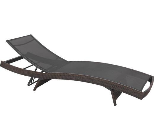 VRTNI LEŽALNIK jeklo prašno lakirano pletivo iz umetne mase, polietilen (PE) rjava, črna  - črna/rjava, Design, kovina/umetna masa (203/38/69cm) - Ambia Garden