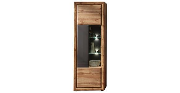 VITRINE in Grau, Eichefarben  - Chromfarben/Eichefarben, KONVENTIONELL, Glas/Holzwerkstoff (68/202/37cm) - Cantus