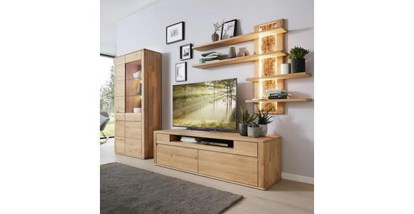 WOHNWAND Wildeiche massiv Eichefarben - Eichefarben/Schwarz, Design, Glas/Holz (355/198/54cm) - Valnatura