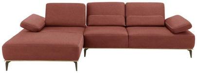 WOHNLANDSCHAFT Rot Mikrofaser  - Beige/Rot, Design, Textil/Metall (178/298cm) - Valnatura