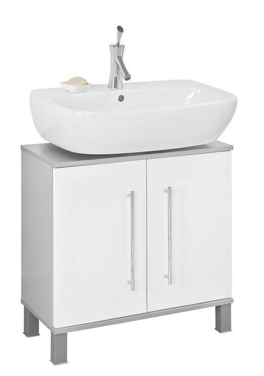 WASCHBECKENUNTERSCHRANK Weiß - Chromfarben/Alufarben, Basics, Holzwerkstoff/Kunststoff (65/64,5/31,3cm) - XORA