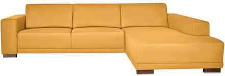 WOHNLANDSCHAFT in Gelb Textil - Gelb/Nussbaumfarben, Design, Holz/Textil (287/192cm) - Xora