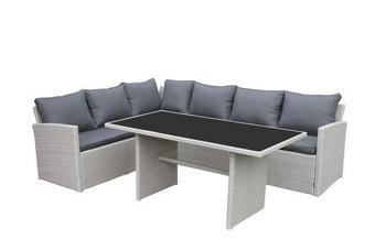 LOUNGE GARNITURA - bijela/siva, Design, staklo/metal (181/70/241cm) - AMBIA GARDEN