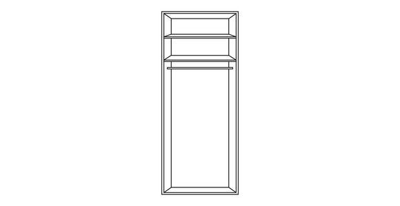 DREHTÜRENSCHRANK in Grau, Eichefarben  - Eichefarben/Alufarben, KONVENTIONELL, Glas/Holzwerkstoff (51/240/63cm) - Moderano