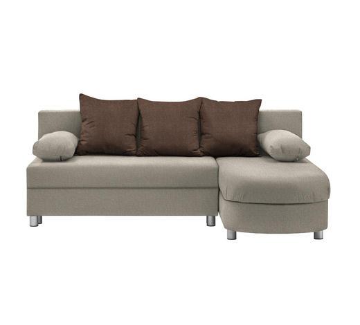 WOHNLANDSCHAFT in Textil Braun, Beige  - Beige/Alufarben, KONVENTIONELL, Kunststoff/Textil (195/153cm) - Carryhome