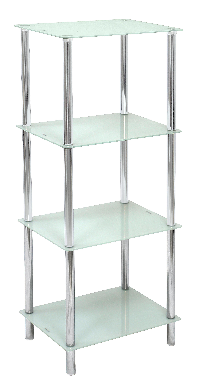 Badezimmerregal Glas Metall Chromfarben Weiß Online Kaufen Xlutz