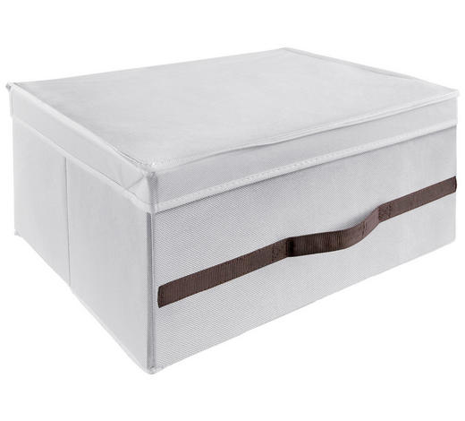 BOX MIT DECKEL 25/24/38 cm  - Braun/Weiß, Basics, Papier/Textil (25/24/38cm)
