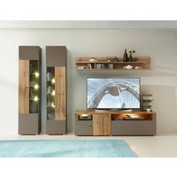 VITRÍNA, barvy dubu, šedá - šedá/barvy dubu, Design, kov/dřevěný materiál (45/202/38cm) - Xora