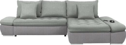 WOHNLANDSCHAFT in Textil Hellgrau - Chromfarben/Hellgrau, Design, Textil/Metall (309/200cm) - Hom`in