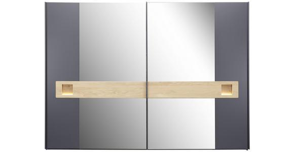 SCHIEBETÜRENSCHRANK in Eichefarben, Schieferfarben  - Schieferfarben/Edelstahlfarben, Design, Glas/Holz (302/224/66,7cm) - Dieter Knoll