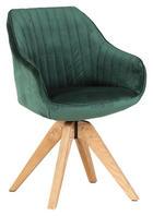 STUHL Velours Grün - Eichefarben/Braun, Design, Holz/Textil (60/83/65cm) - Hom`in