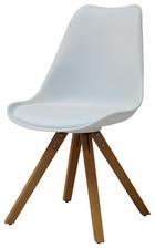 STUHL Lederlook Buche massiv Buchefarben, Weiß - Buchefarben/Schwarz, Design, Holz/Kunststoff (48,5/82/54cm) - Carryhome