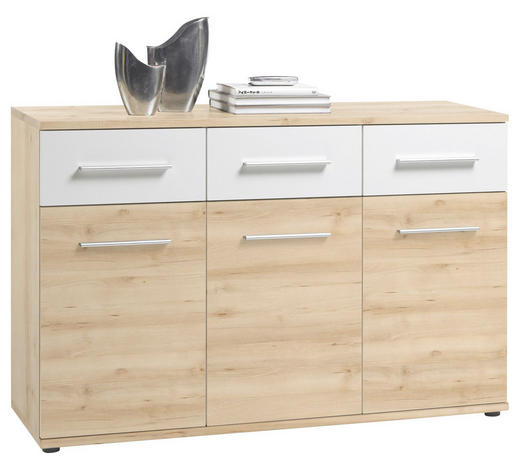 KOMMODE 135/90/40 cm - Buchefarben/Alufarben, Design, Holzwerkstoff/Kunststoff (135/90/40cm) - Ti`me