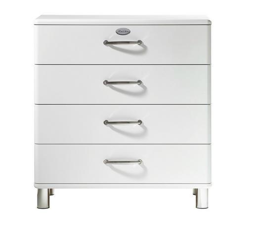 KOMMODE lackiert, Melamin Weiß  - Weiß/Nickelfarben, Design, Metall (86/92/41cm) - Carryhome