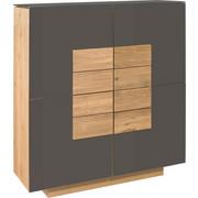 HIGHBOARD Wildeiche massiv, mehrschichtige Massivholzplatte (Tischlerplatte) geölt Braun, Eichefarben  - Eichefarben/Braun, Natur, Glas/Holz (128/137,4/42,5cm) - Voglauer