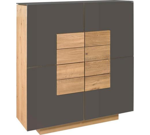 HIGHBOARD Wildeiche massiv, mehrschichtige Massivholzplatte (Tischlerplatte) geölt - Eichefarben/Braun, Natur, Glas/Holz (128/137,4/42,5cm) - Voglauer