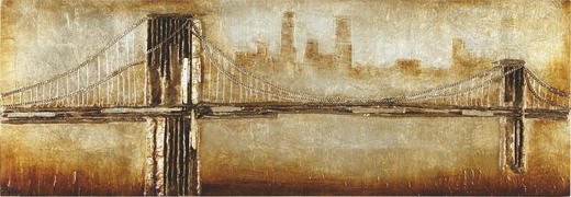 Abstraktes, Brücken, Städte BILD - Silberfarben/Goldfarben, Basics, Holz/Kunststoff (160/55/7cm) - MONEE
