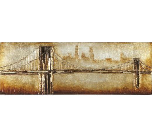 BILD Brücken  - Silberfarben/Goldfarben, Design, Holz/Kunststoff (160/55/7cm) - Monee
