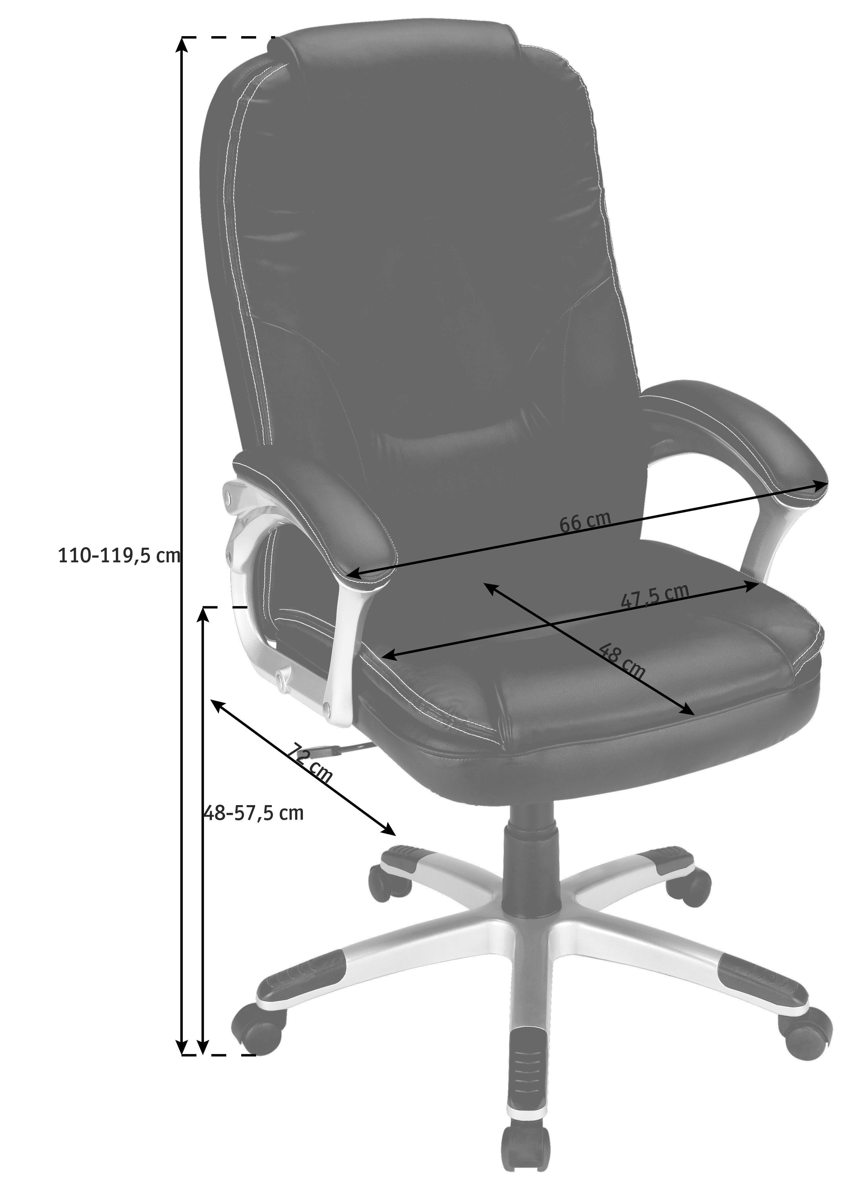 CHEFSESSEL Lederlook Schwarz - Silberfarben/Schwarz, Basics, Kunststoff/Textil (66/110-118/72cm) - XORA