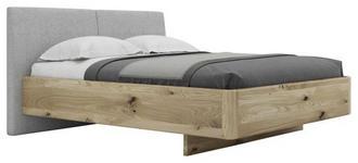 BETT Wildeiche massiv 160/200 cm  - Eichefarben/Grau, Natur, Holz/Textil (160/200cm) - Valnatura