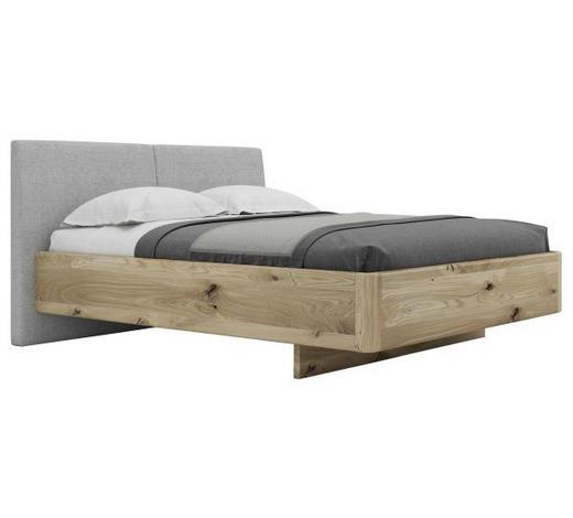Bett 160 Cm X 200 Cm In Holz Textil Grau Eichefarben