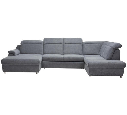 WOHNLANDSCHAFT in Textil Grau - Chromfarben/Grau, Design, Kunststoff/Textil (193/363/223cm) - Welnova