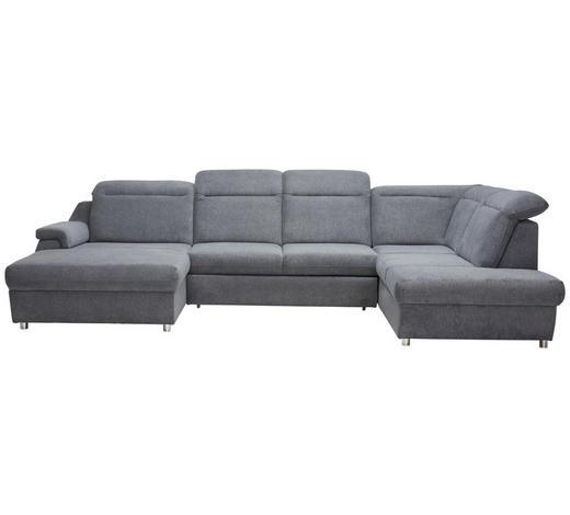 WOHNLANDSCHAFT in Textil Grau  - Chromfarben/Grau, KONVENTIONELL, Kunststoff/Textil (193/363/223cm) - Welnova