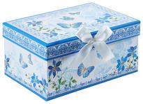 GESCHENKBOX - Blau/Weiß, Trend, Papier (20/14/10cm) - Boxxx