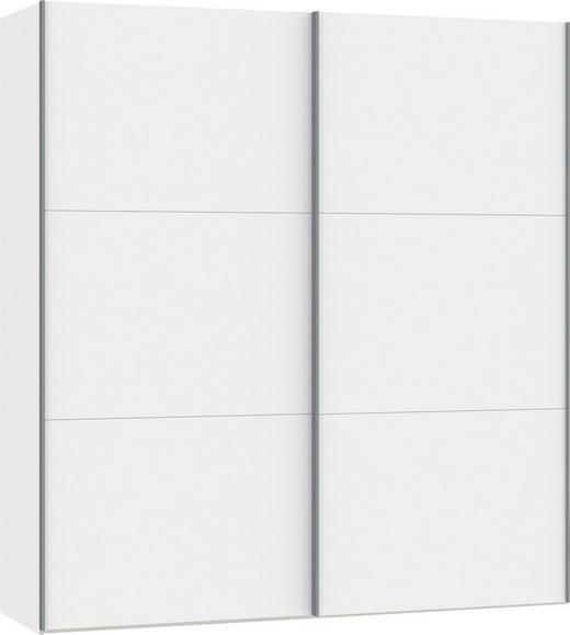 SCHWEBETÜRENSCHRANK 2-türig Weiß - Silberfarben/Weiß, Design, Glas/Holzwerkstoff (202,5/220/65cm) - Jutzler