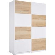 OMARA Z DRSNIMI VRATI, bela, hrast - bela/hrast, Design, kovina/leseni material (150/213/63cm) - Hom`in