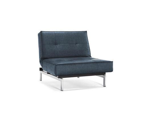 SESSEL Blau - Blau/Chromfarben, Design, Textil/Metall (90/79/115cm) - Innovation