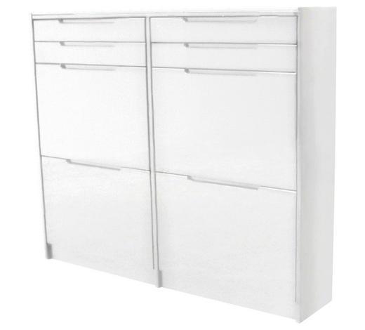 SCHUHSCHRANK Weiß  - Weiß, Design, Glas (124/104/24cm) - Carryhome