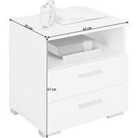 NACHTKÄSTCHEN Weiß - Alufarben/Weiß, Design, Kunststoff (45/47/35cm) - Carryhome
