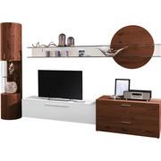 OBÝVACÍ STĚNA, bílá, barvy ořechu - bílá/barvy ořechu, Design, kov/dřevo (308/204,2/51,9cm) - Ambiente by Hülsta
