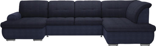 WOHNLANDSCHAFT in Textil Dunkelblau  - Silberfarben/Dunkelblau, Design, Textil (154/342/208cm) - Cantus