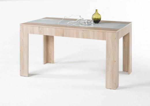 ESSTISCH Eichefarben, Weiß - Eichefarben/Weiß, Design, Glas (140/75/80cm) - Carryhome