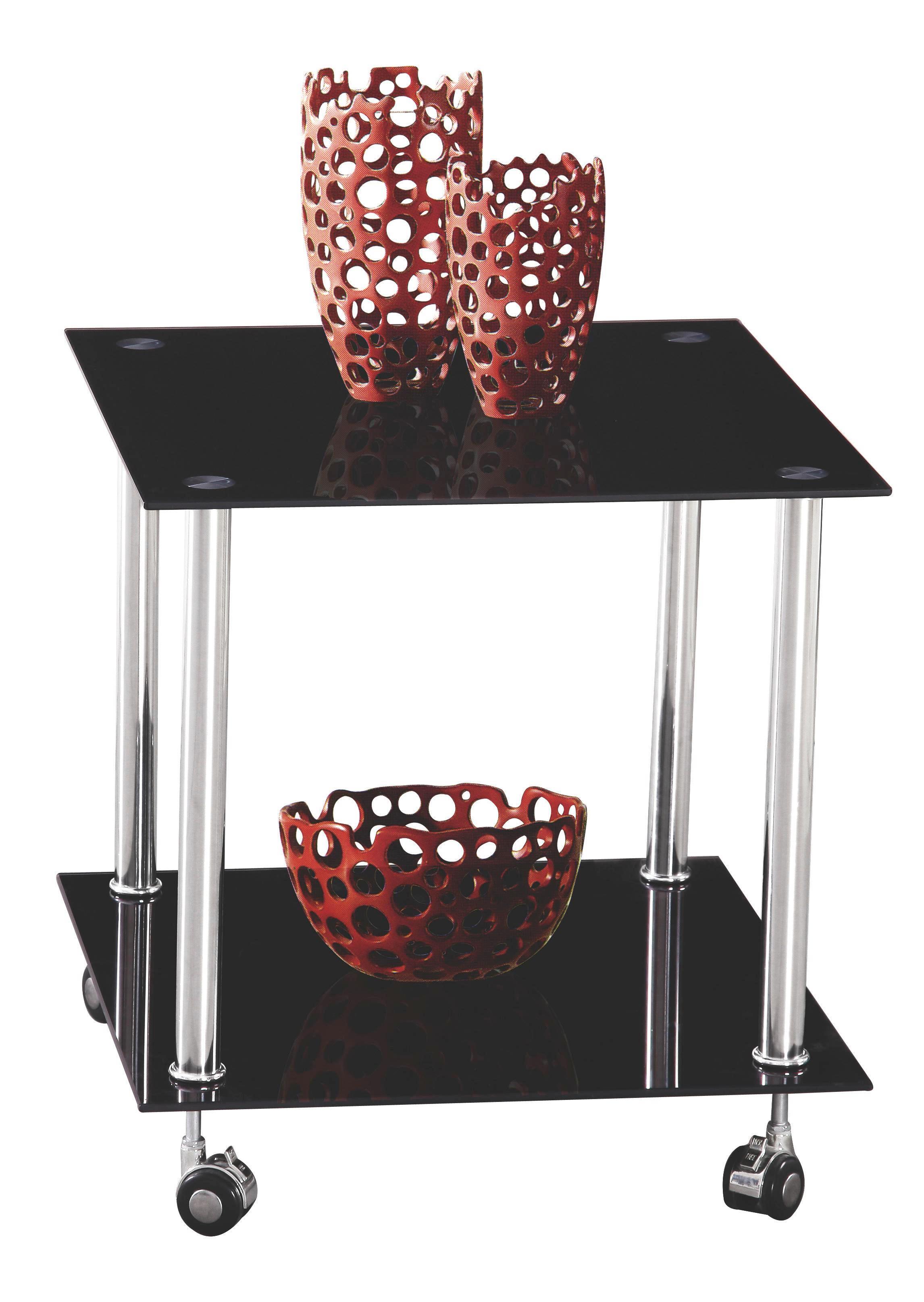 AVLASTNINGSBORD - svart/rostfritt stål-färgad, Design, metall/glas (45/46/45cm) - BOXXX