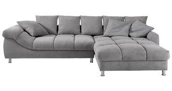 WOHNLANDSCHAFT in Textil Grau  - Chromfarben/Silberfarben, Design, Textil/Metall (337/228cm) - Carryhome