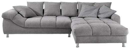 WOHNLANDSCHAFT Grau Webstoff - Chromfarben/Silberfarben, Design, Textil/Metall (337/228cm) - Carryhome