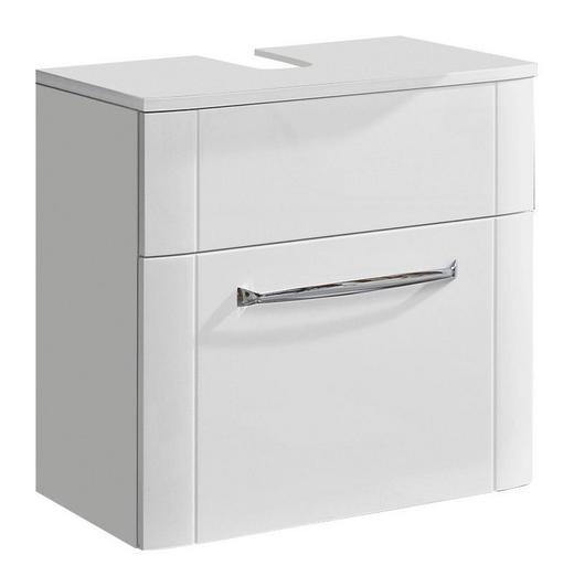 WASCHBECKENUNTERSCHRANK Weiß - Chromfarben/Weiß, KONVENTIONELL, Holzwerkstoff/Metall (60/57/38cm) - Xora
