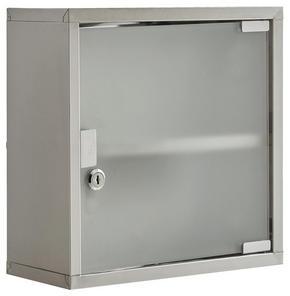 MEDICINSKÅP - rostfritt stål-färgad, Basics, metall/glas (30/30/12cm) - X-Mas