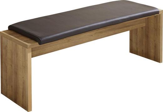 SITZBANK Lederlook Eichefarben, Grau - Eichefarben/Grau, Design, Textil (130/48/40cm) - Carryhome